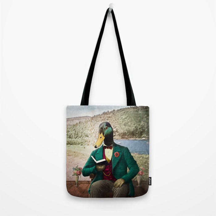Monsieur Mallard Reading an Improving Book Tote Bag