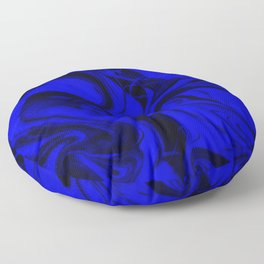 Black and Blue Swirl - Abstract, blue and black mixed paint pattern texture Floor Pillow