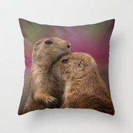 Loving Prairie Dogs Throw Pillow