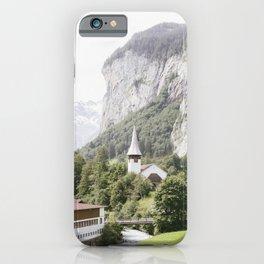 Lauterbrunnen Town and Church - Switerland Travel Landscape iPhone Case