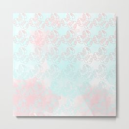 turquoise and light rose palm leaves Metal Print