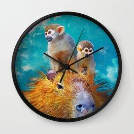 Capybara vibing Wall Clock