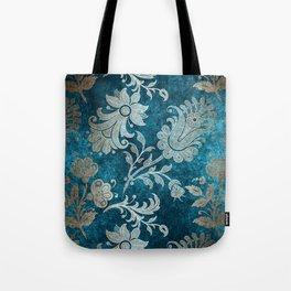 Aqua Teal Vintage Floral Damask Pattern Tote Bag