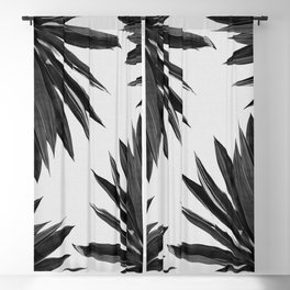 Agave Cactus Black & White Blackout Curtain