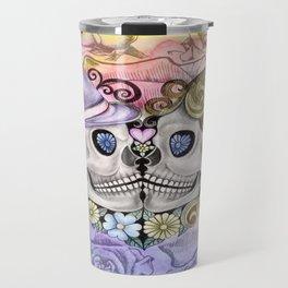 Pastel Rose Sugar Skull Couple Travel Mug