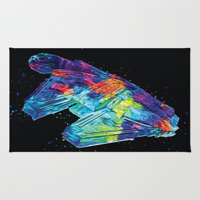 Millennium Falcon Abstract Science Fiction Classic Movie Painting Rug