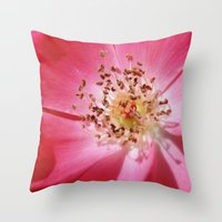 hot pink Throw Pillows featuring Hot Pink by Zayda Barros