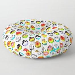 Lovebird colour mutations Floor Pillow