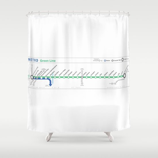 Twin Cities METRO Green Line Map Shower Curtain