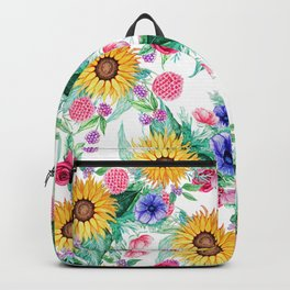 Sunflower, anemone, dahlia, rose and beauty berry watercolor floral Backpack