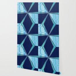 Birds In Flight Pattern 2 In Shades of Blue Wallpaper