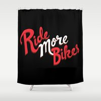 bikes Shower Curtains featuring Ride More Bikes by Chris Piascik