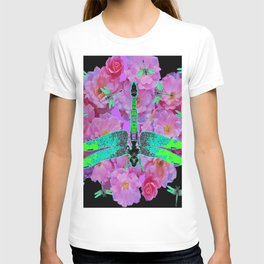 EMERALD DRAGONFLIES  PINK ROSES  BLACK COLOR T-shirt