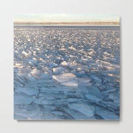 Watercolor Ice 16, Iceflow Lake Metal Print