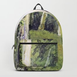 Woodland Landscape Watercolor Vermont Painting Birch Trees Spring Fields Backpack