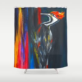 Fire Bird (Pileated Woodpecker) Shower Curtain