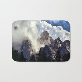 Mystical Mountains in Clouds, Landscape Nature Photography Bath Mat