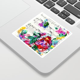 Musical Beauty - Floral Abstract - Piano Notes Sticker