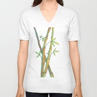 bamboo V-neck T-shirts featuring Bamboo by Alexandra Sutherland