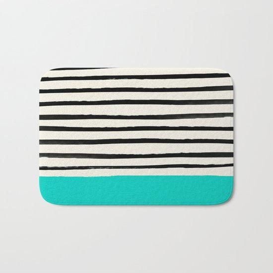 Aqua & Stripes Bath Mat