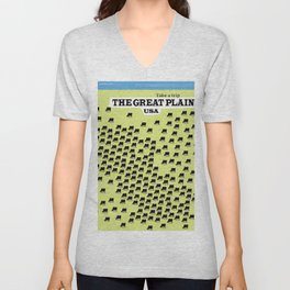 The Great Plains USA vacation poster, Unisex V-Neck