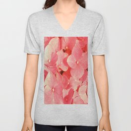 Pink Hydrangea Yellow Mellow flower pattern Unisex V-Neck