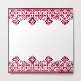 Retro .Vintage . Red lace on a white background . Metal Print