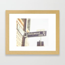 Hollywood Blvd Street Sign Framed Art Print