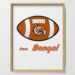 True Bengal American Football Design black lettering Serving Tray