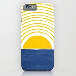 Sun Rise Blue Yellow Goache Painting iPhone Case