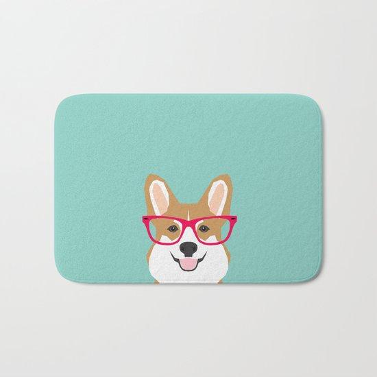 Teagan Glasses Corgi cute puppy welsh corgi gifts for dog lovers and pet owners love corgi puppies Bath Mat