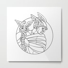 Messenger of the Gods Mosaic Black and White Metal Print