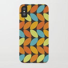 Retro 70s Color Palette Leaf Pattern II iPhone Case