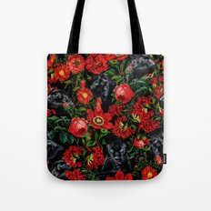 Panther and Floral Pattern XO Tote Bag