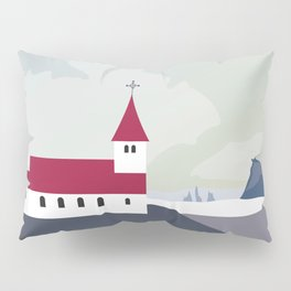 Iceland Vik Church Travel Poster Pillow Sham