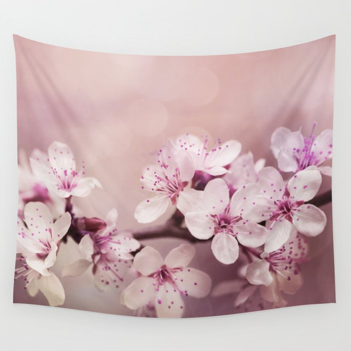 soft pink cherry blossom Wall Tapestry
