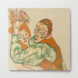 "Egon Schiele ""Lovemaking"" Metal Print"