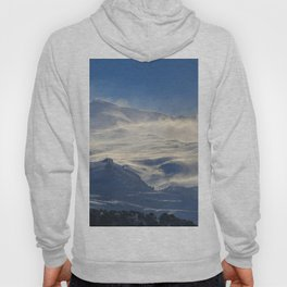 """Brave mountains"". Into the windy storm Hoody"