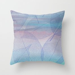 Painterly Pastel Leaves Abstract Throw Pillow