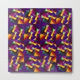 Dragonflies Rainbow Q Metal Print