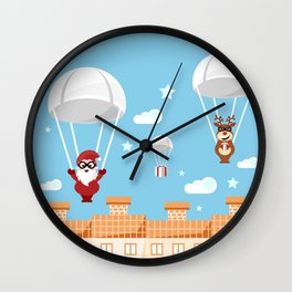 Santa Claus and reindeer parachutists delivering presents Wall Clock