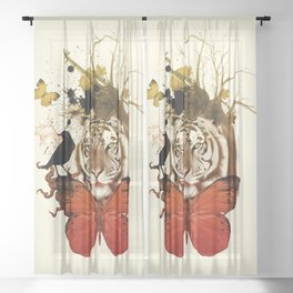 wild animals in the zoo Sheer Curtain