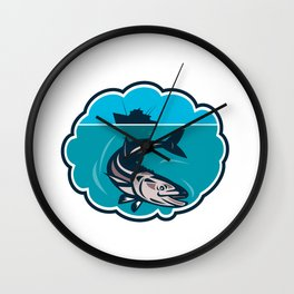 Cobia Fish Fishing Boat Bubble Retro Wall Clock