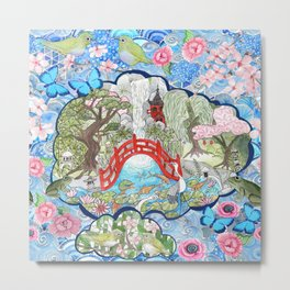 Japanese  Garden watercolor biophile paradise Metal Print