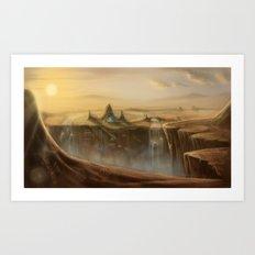 Canion Village Fantasy Landscape Art Print
