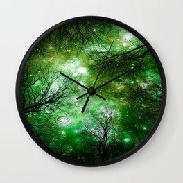 Black Trees Green Space Wall Clock