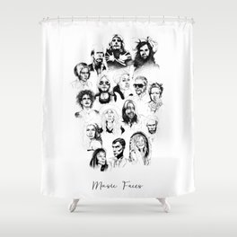 Music Faces Shower Curtain
