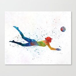 Woman beach volley ball player 01 in watercolor Canvas Print