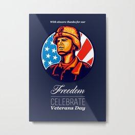 American Veteran Serviceman Greeting Card Metal Print
