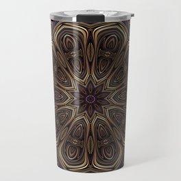 An Absract Kaleidoscope Flower of Bronze and Purple Highlights Travel Mug